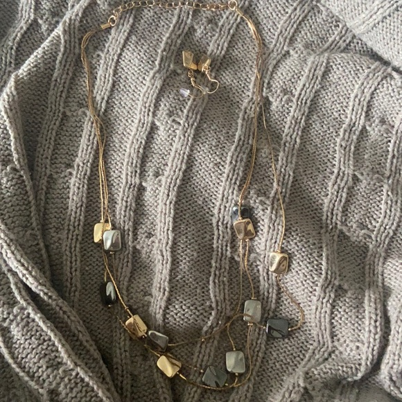 Gold, Silver, Gunmetal Necklace and Earrings